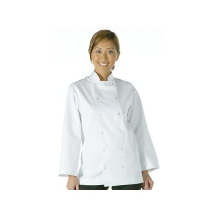 Unisex Vegas Chefs Jacket - Long Sleeve White Polycotton. Size: XL (To fit chest